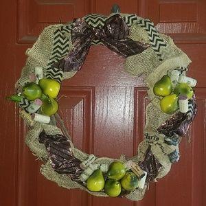 Wreath, front door pear wreath, wine